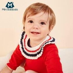 Мини-боди Balabala для малышей, хлопковый комбинезон с длинными рукавами, цельнокроеная Одежда для новорожденных девочек с контрастным плиссир...