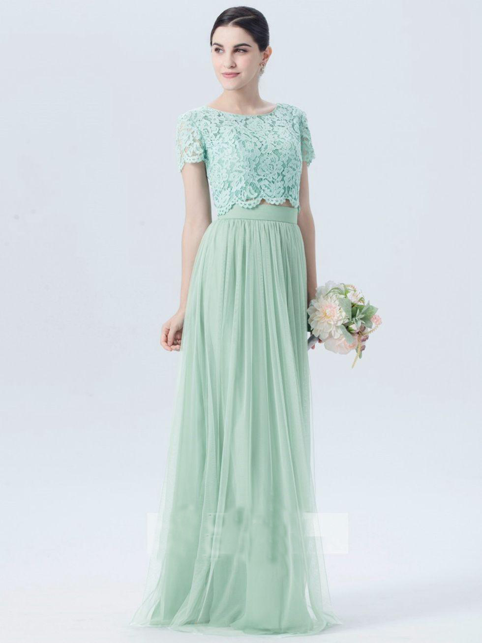 Mint Green Lace Tulle Country Bridesmaid Dresses 2017 Short Sleeve ...