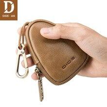 DIDE 2019 New Genuine Leather fashion vintage Zipper Key Case Bag Chain Organizer Wallet card Holder Housekeeper