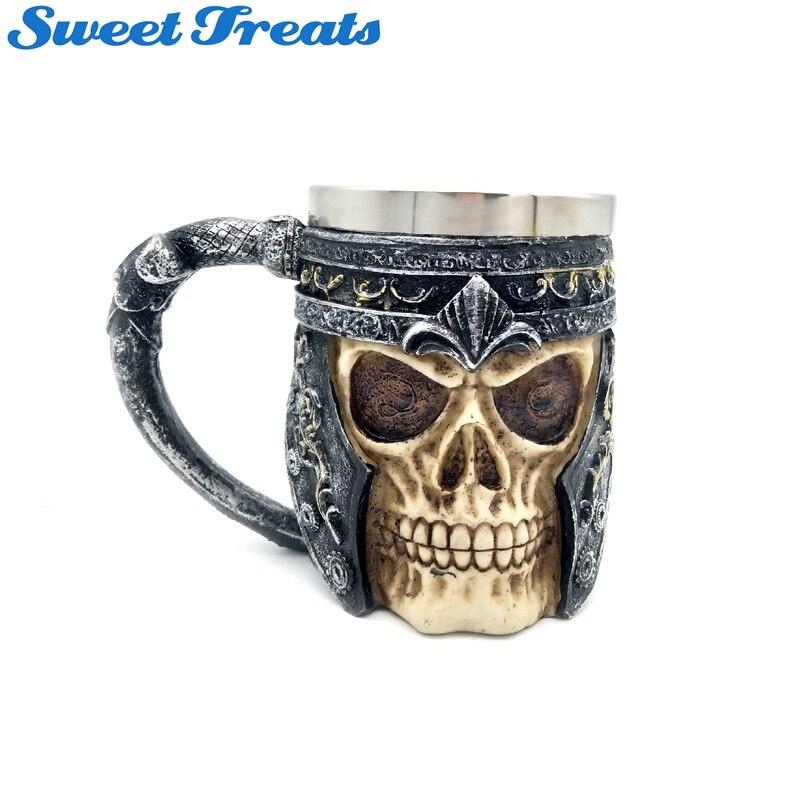 Tasse / Chope de bière Crâne de Guerrier Squelette
