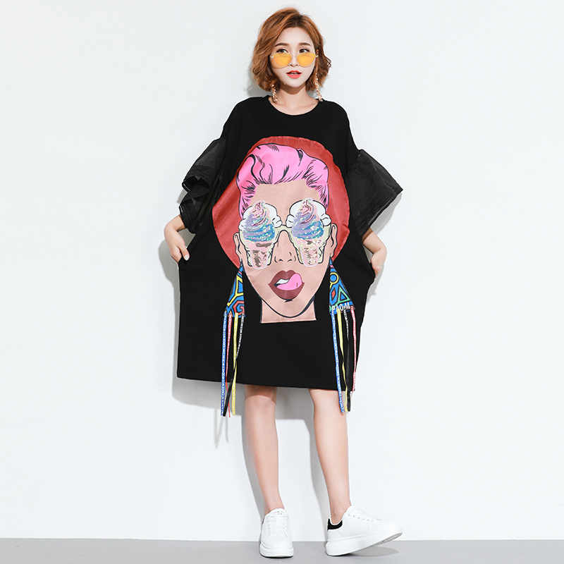 10acba49f2c Fashion Hip Hop Women Summer Dress Harajuku Plus Size Dresses Print  Character Ladies Vestido Short Sleeve Sequins Fringe Dress-in Dresses from  Women s ...