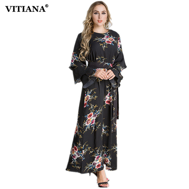 Women Plus size M-7XL size Dress 2017 Autumn Muslim Islam Elegant Maxi Long  Dresses Female Black Print Long Sleeve Clothing Robe f95e1f65c717