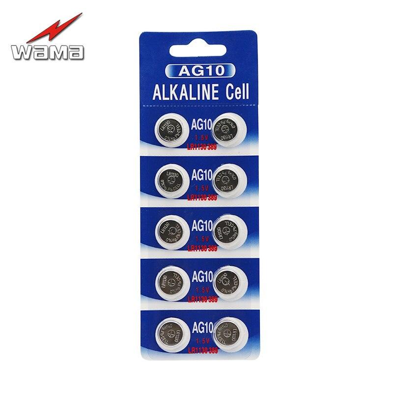 10 шт./упак. WAMA AG10 1,5 V Щелочная монетная Батарея кнопочная ячейка LR1130 389 390 калькулятор игрушки часы батареи одноразовые новый