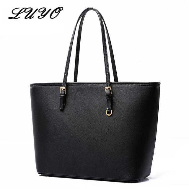 7184215f4a06 2017 Fashion Pu Leather Large Girls Shoulder Bag Female Bucket Black Tote  For Shopper Ladies Designer ...