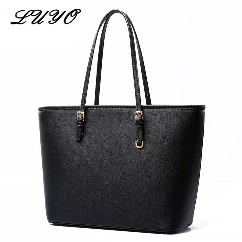 da83756853c6 2019 модная сумка из искусственной кожи для больших девочек, женская сумка-мешок,  черная сумка-шоппер, дизайнерские дамские сумки