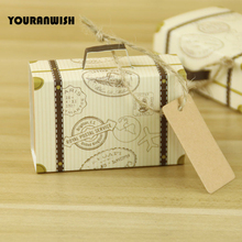 50pcs/Lot Party Wedding Favor Candy Boxes Kraft Paper Baby Shower Gift Box With Burlap Jute Twine Day and Part DIY creative Rom