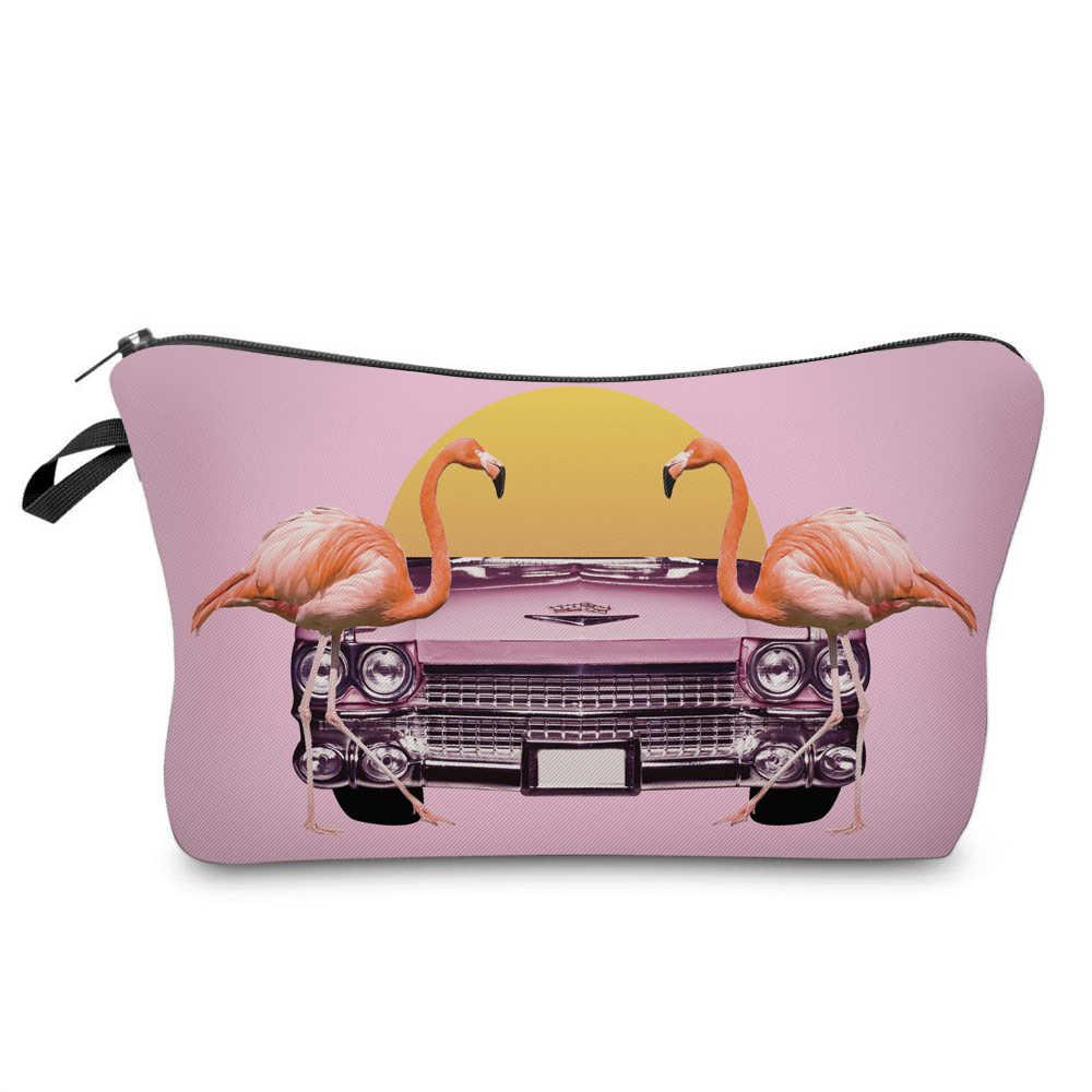 BBL 3D Flamingo Mulheres Dos Desenhos Animados Impresso Carta de Viagem de Higiene Pessoal Make Up Bag Bolsa Clutch Bolsa Caso Cosméticos Organizador de Maquiagem