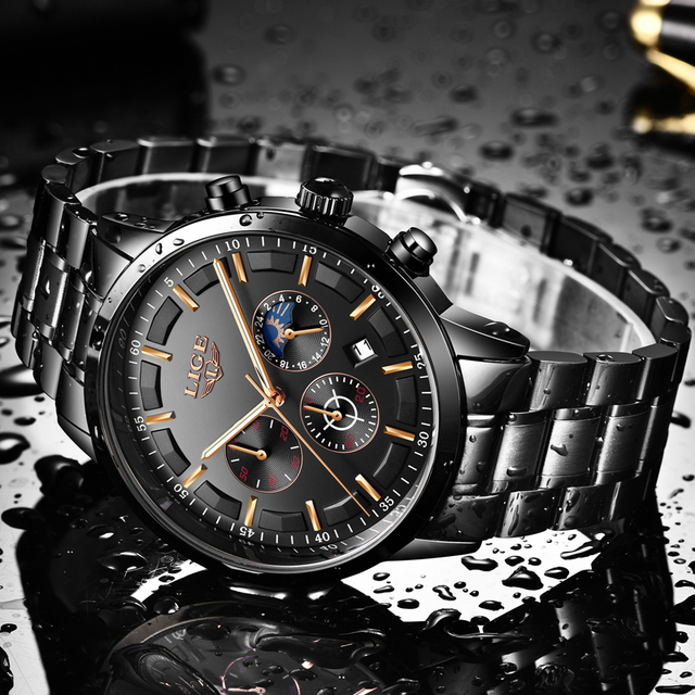LIGE Fashion Sports Clock Top Brand Luxury Business Chronograph Waterproof Men Quartz Watches 4