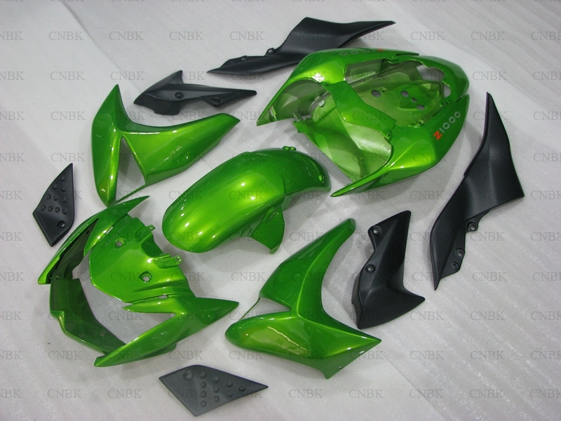 for Kawasaki Z1000 2007 2009 Body Kits Z 1000 08 Green Motorcycle Fairing Z 1000 2008