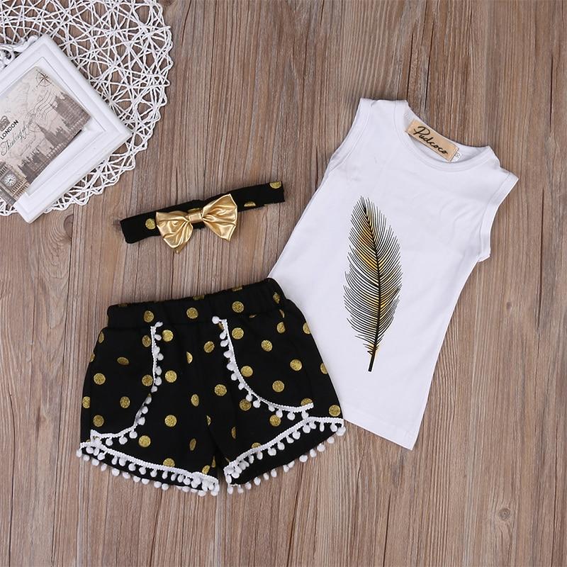 3 st Små flickor sommar fjäderkläder set barn tjej kläder - Barnkläder - Foto 3