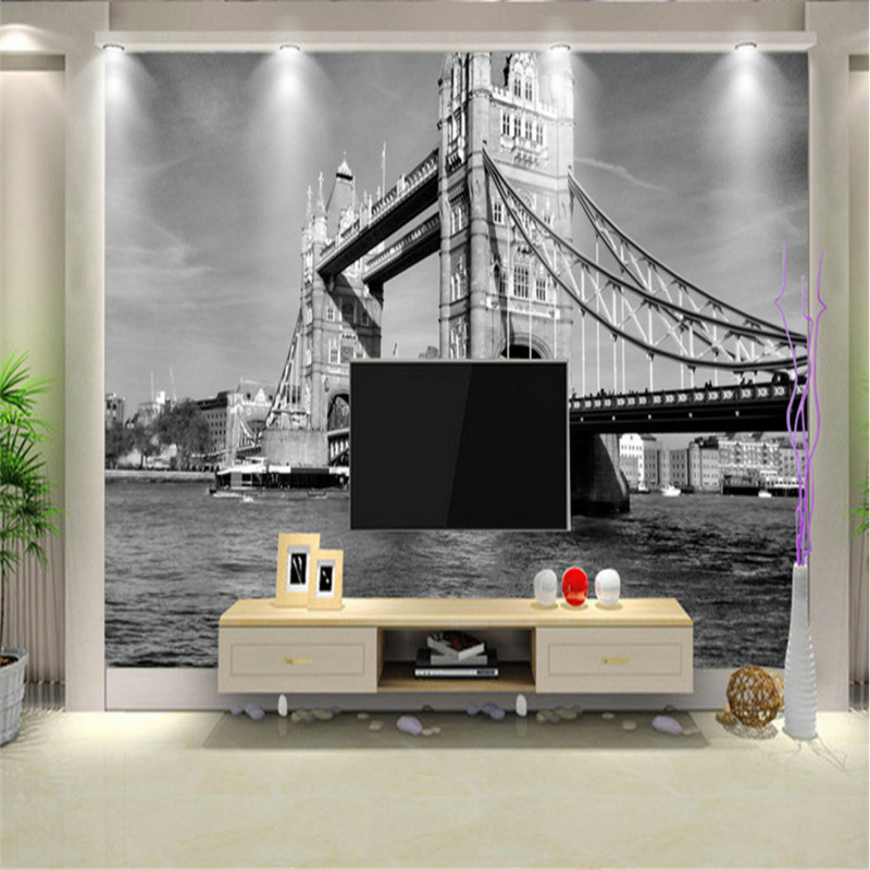 custom photo 3d wallpaper non-woven London tower bridge vintage black and white European architectural landscape background wall free shipping hepburn classic black and white photographs women s clothing store cafe background mural non woven wallpaper