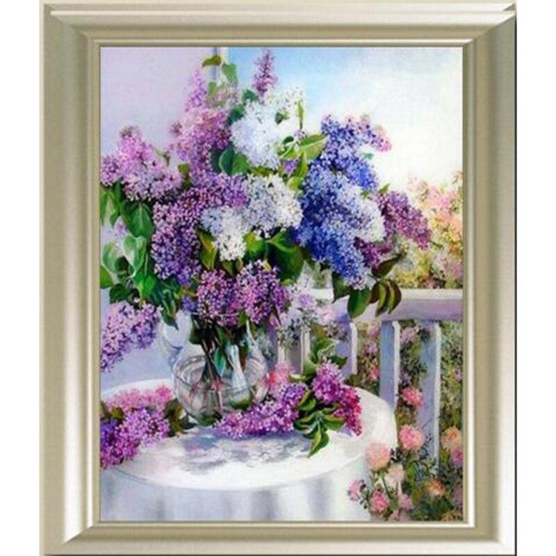 Алмазная живопись 5D «сделай сам» фиолетовый ваза с лавандой кристалл вышивка крестиком Набор для алмазной вышивки Мозаика горный хрусталь ...