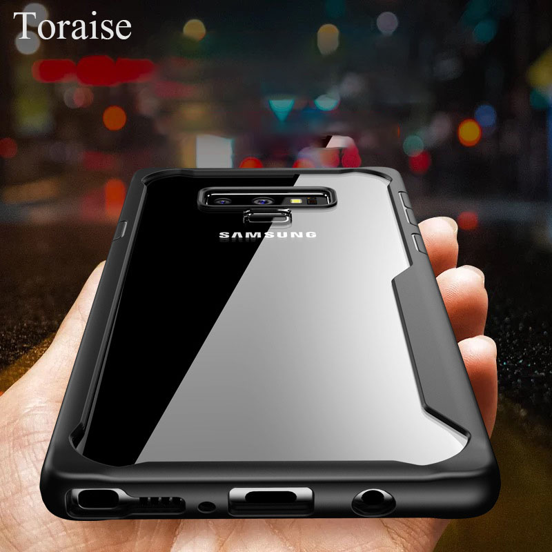 Toraise Case For Samsung Note 9 Case Silicone TPU Frame Acrylic Transparent Back Cover Case for Samsung Galaxy Note 9 Note9 capa