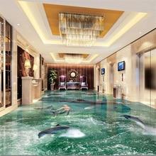 beibehang Custom flooring 3d large beach waves living room shopping mall entertainment 3d floor tiles painting papel de parede цена 2017
