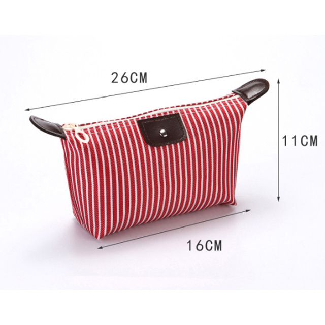 Foldable Stripes Women Travel Toiletry Make Up Cosmetic pouch bag Clutch Handbag Purses Case Makeup Bag Organizer Cosmetic Bags