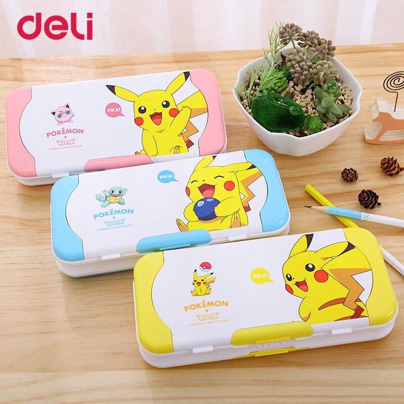Deli cute children multifunctional three-layer pencil box pokemon plastic school pencil cases gifts ruler Pikachu stationery set