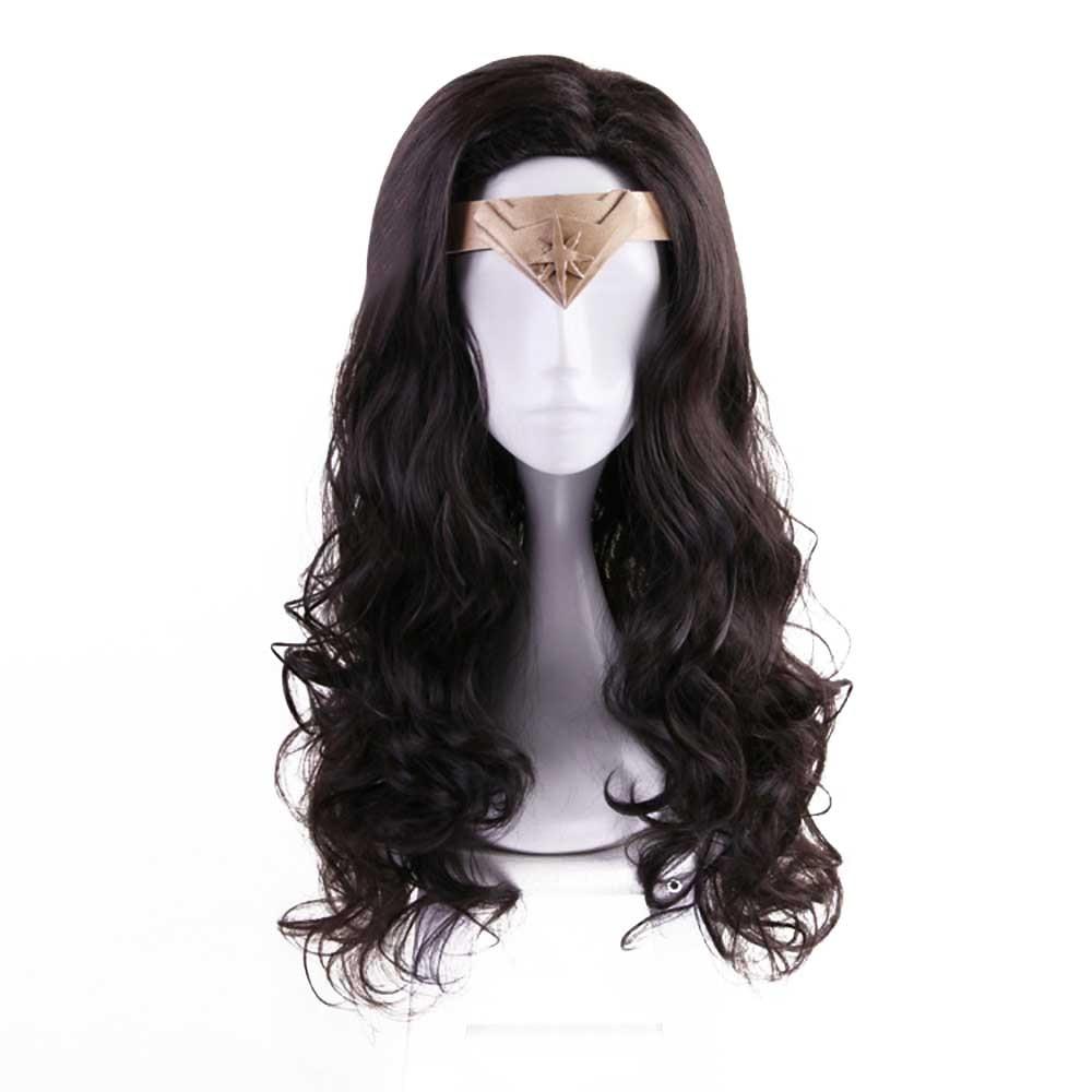 Womens Deluxe Wonder Woman Cosplay Headwear Natural Looking Dark Brown Synthetic Fiber Long Wavy Hair Golden Tiara Available