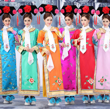2016 hot 3 Pcs Hat+ Scarf Plus Size Qing Dynasty Costume Chinese Traditional Princess Dress with Hat Chinese Folk Dance