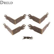 DRELD 4 шт. 69 мм античная бронза декоративная подарочная коробка для ювелирных изделий Деревянный чехол Защитные уголки металлические изделия фурнитура для мебели