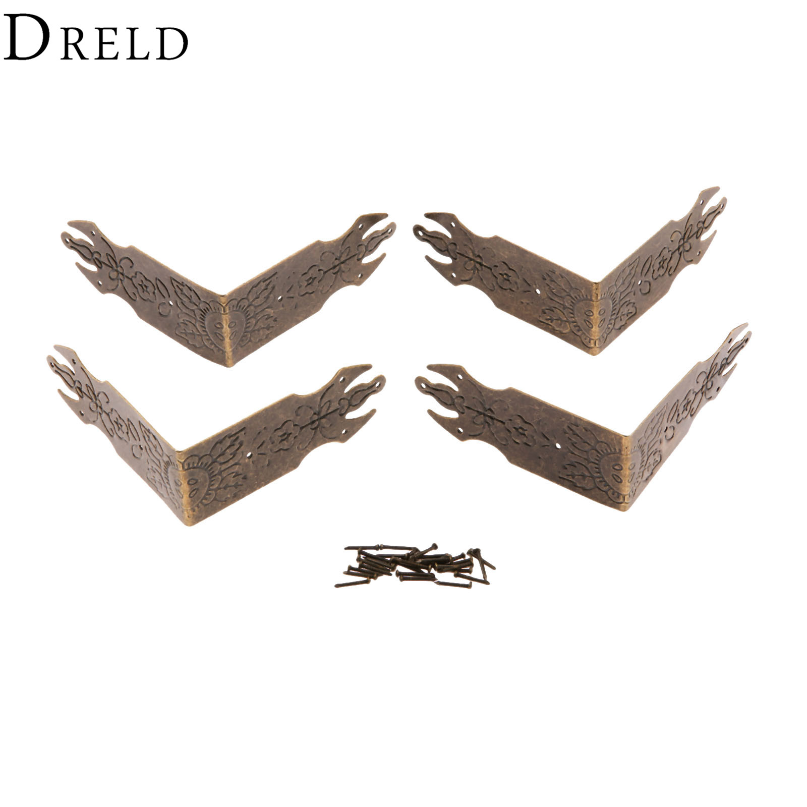 DRELD 4Pcs 69mm Antique Bronze Decorative Jewelry Gift Box Wooden Case Corner Protector Guard Metal Crafts Furniture Fittings allen roth brinkley handsome oil rubbed bronze metal toothbrush holder
