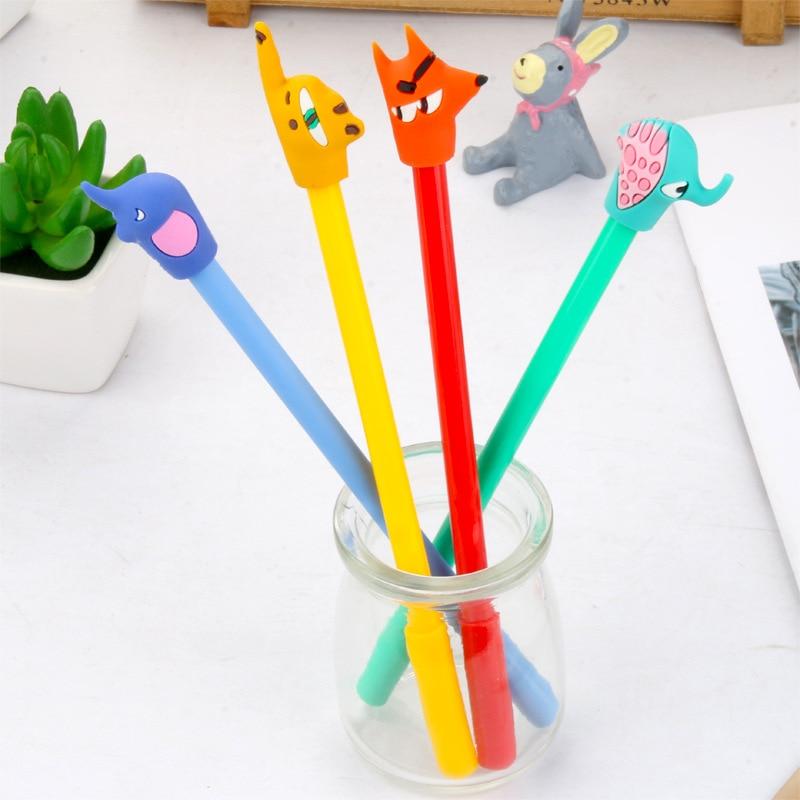 1 Pcs Kawaii Abstract Animal Gel Pen Cute Fox Elephant Soft Glue Cartoon Neutral Pen Stationery Escolar Office Canetas