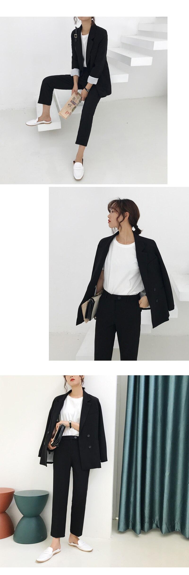 BGTEEVER Vintage Light Green Women Suits Double Breasted Female Pant Suits Blazer Jacket & Pencil Pant Casual 2 Pieces set femme 9