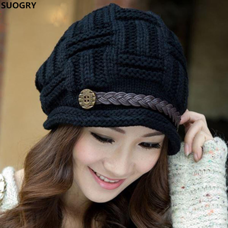 SUOGRY Women Winter   Beanie   Cabled Checker Pattern Knit Hat Button Strap Cap