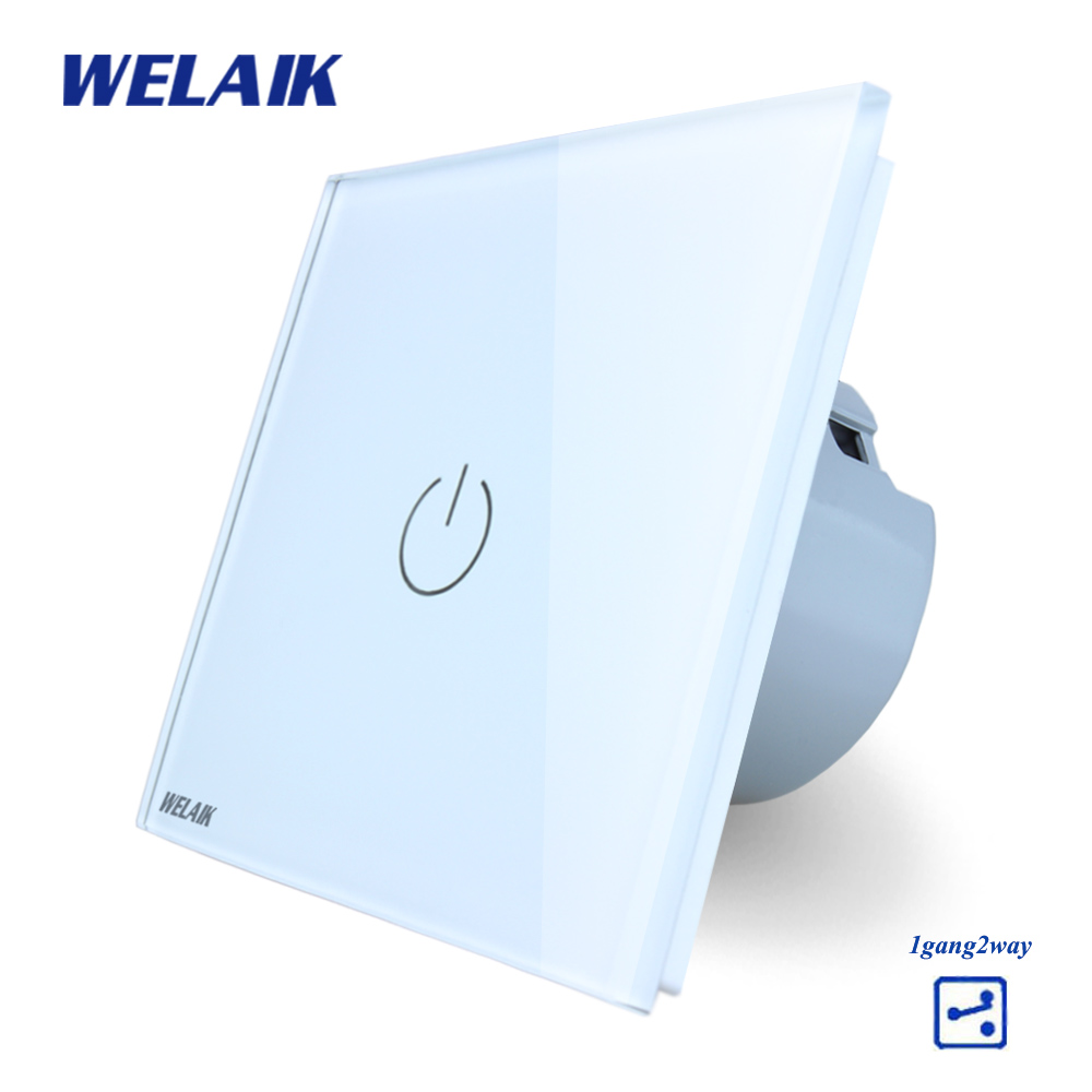 WELAIK Crystal Glass Panel Switch White Wall Switch EU Touch Switch Screen Wall Light Switch 1gang2way AC110~250V A1912W/B cnskou 2017 smart home wall touch switch white crystal glass panel ac110 250v led 1gang 1way us light led touch screen switch