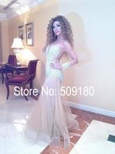 Sexy Nude Farbe Myriam Fares Abendkleid Durchsichtig Transparent Zurück Cocktail Party Kleider Perlen Benutzerdefinierte Plattform Kleid JO221