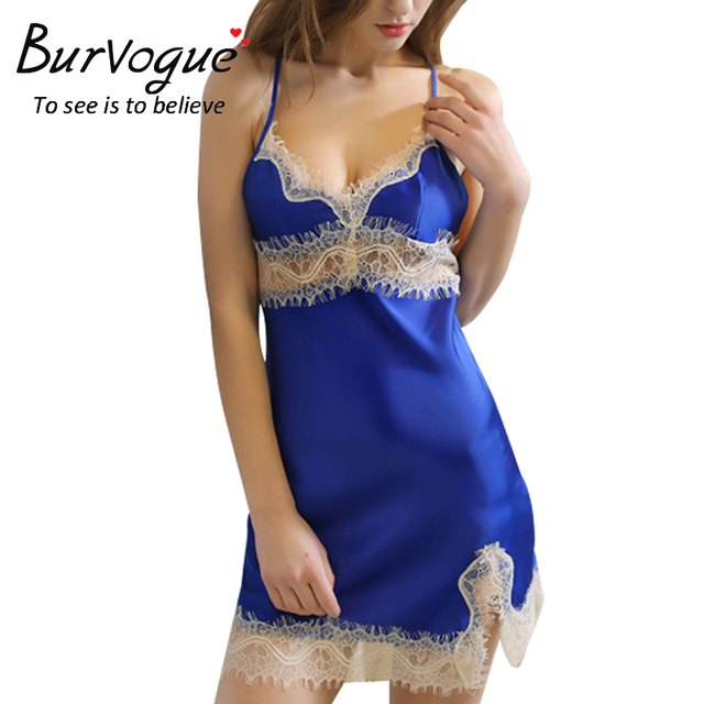 Burvogue New fashion lingerie sexy nightgown one piece lace nightdress Sling lingerie nightdress hot sell women nightwear