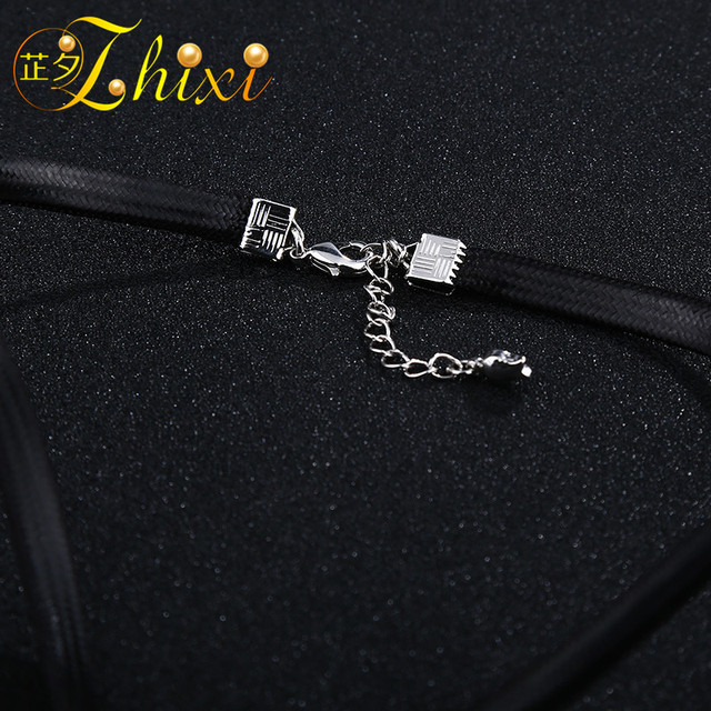 ZHIXI Pearl Necklace Pendant Pearl Jewelry Natural Freshwater Fine Choker Necklace Woman Water Drop Trendy For Anniversary  D209