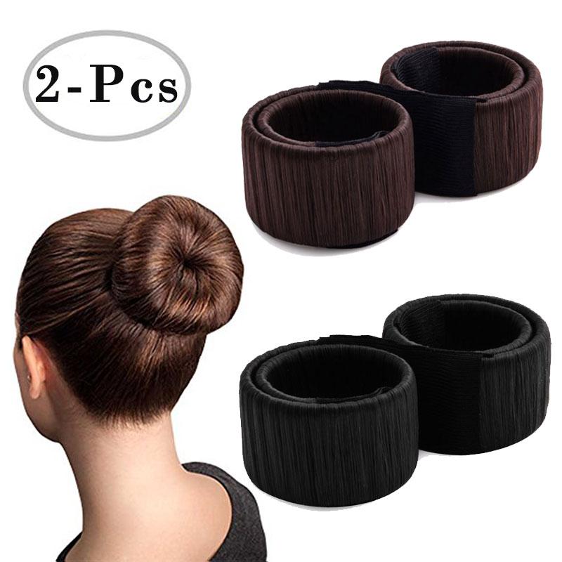 1Set=2Pcs Magic Hair Bun Maker French Donut Styling Hair Fold Wrap Snap Accessories for Women Curler Roller Quick Dish Headbands magic hair 2015 gorra unprocesseds from16 18 20 22 24 magic 100