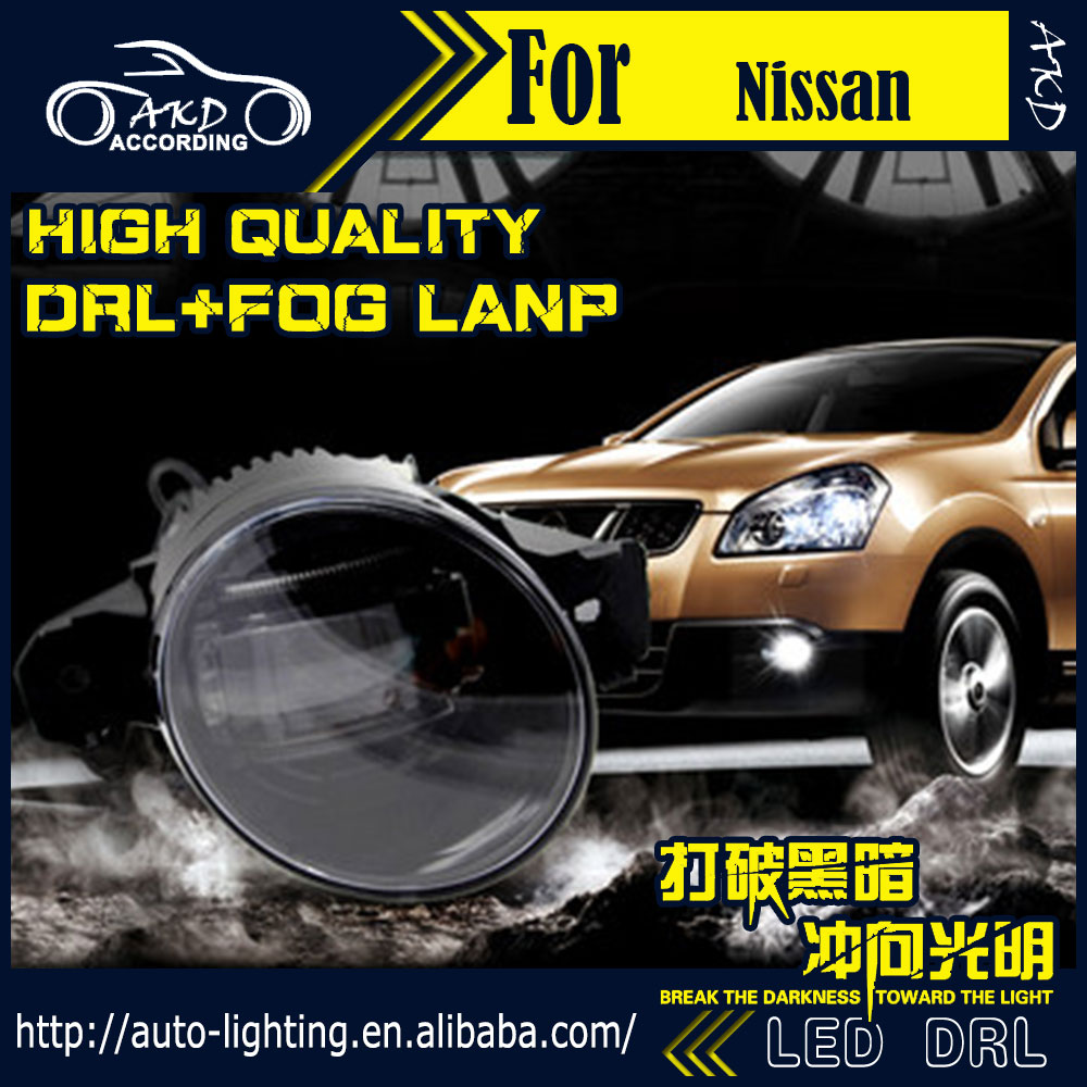 AKD Car Styling Fog Lamp for Nissan Dualis DRL LED Fog Light Qashqai Headlight 90mm high power super bright lighting accessories akd car styling fog lamp for nissan rouge drl led fog light led headlight 90mm high power super bright lighting accessories