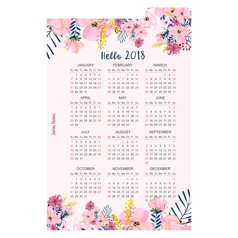 Jamie Note Spiral Notebook Accessories 2018 Calendar PP Divider Index Pages For Filofax A5a6 Planner Organizer Korean Stationery