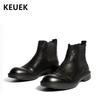 Ботильоны martin из натуральной кожи, роскошные винтажные мужские ботинки «Челси», рабочие ботинки в британском стиле, мотоциклетные ботинки