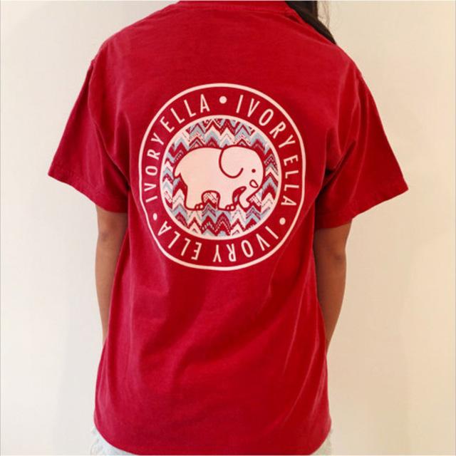 2017 de primavera y verano de marfil ella t-shirt womens clothing tee carácter elefante animal print pocket manga corta camisetas s-xl