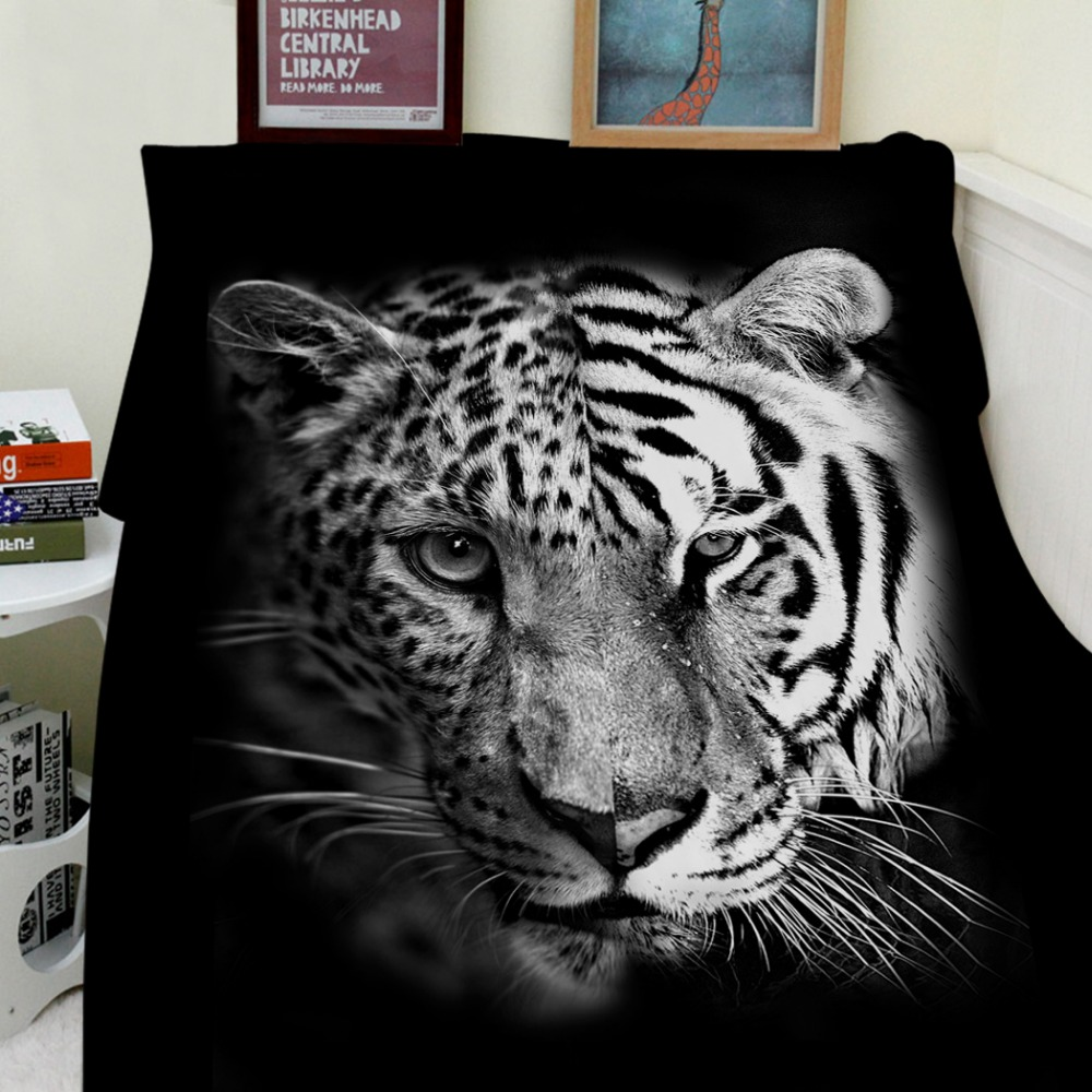 Couvertures Cobertor chaleur douce peluche créative couture motif guépard tigre Animal noir canapé lit jeter Plaid