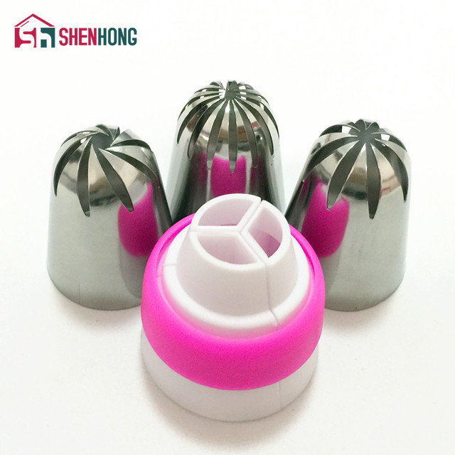 Amazing Stainless Steel Cream Icing Piping Nozzle Tips 1 Adaptor Converter Pastry Decorating Cake Cupcake Russian Tulip Baking