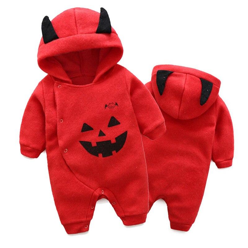 New baby boys cartoon bear hooded black long sleeve rompers fashion halloween kids fleece overalls infant jumpers 17A801