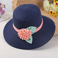 2016 New Hot Women's Sun Hat Summer Flower Bowknot Foldable Straw Hats Beautiful Lady Straw/Beach Large Brim Hat