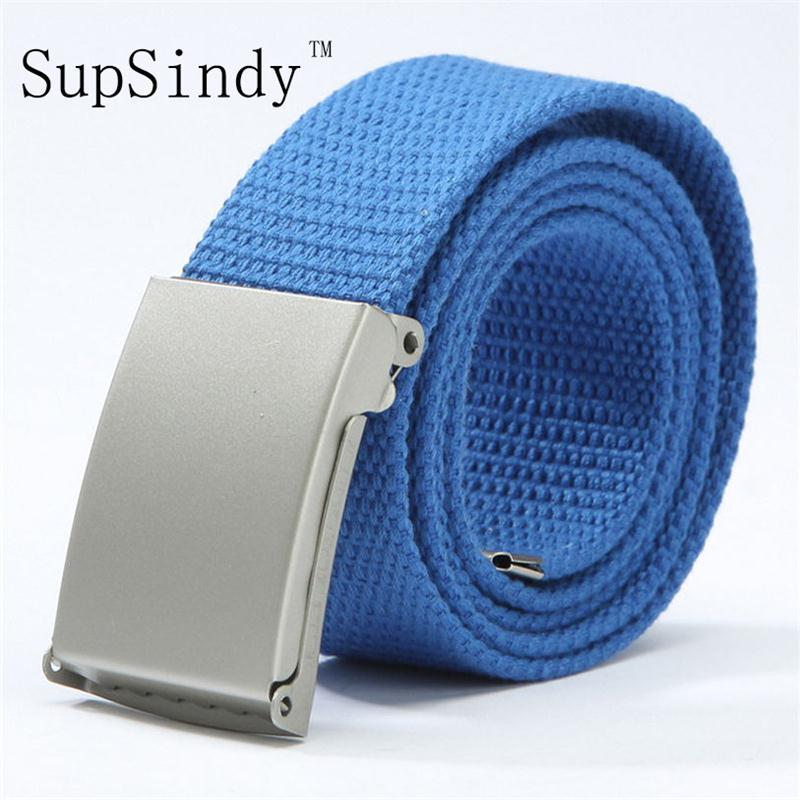 SupSindy Unisex Plain Webbing Waistband Casual Canvas Belt metal buckle Men Women Boys Jeans belts Candy Colors Top quality110cm