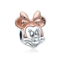 100% 925 sterling silver beads accessories two color Minnie glamour portrait Fits Pandora Bracelets DIY Jewelry making