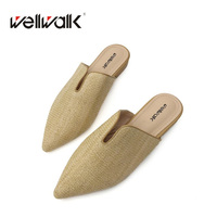 Classic Women Flat Slipper 2018 Pointy Toe Casual Mules Cane Grass Weaving Special Women Shoes Spring