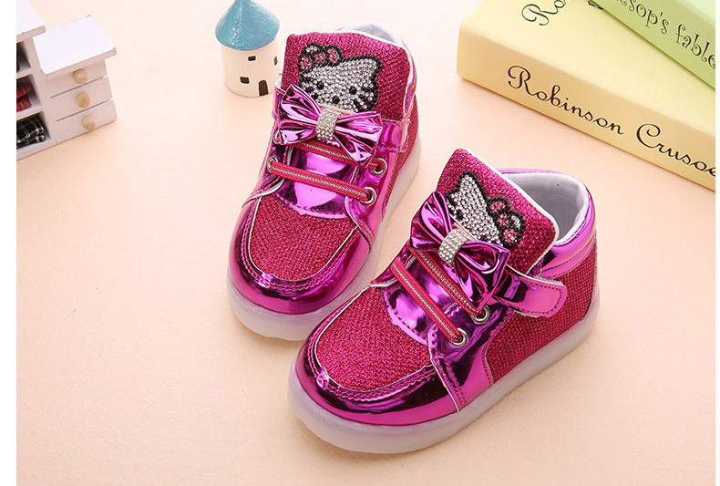 Girls shoes baby Hook Loop led shoes kids light up glowing sneakers toddler Girls princess children shoes girls with light 8