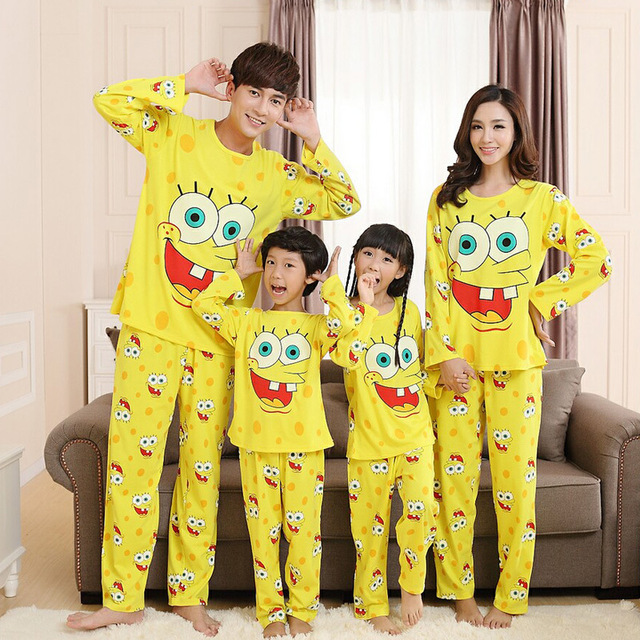 Spring Autumn Family Matching Pajamas Cotton Spongebob Matching Mother Daughter Clothes Mother Daughter Father Son Pajamas