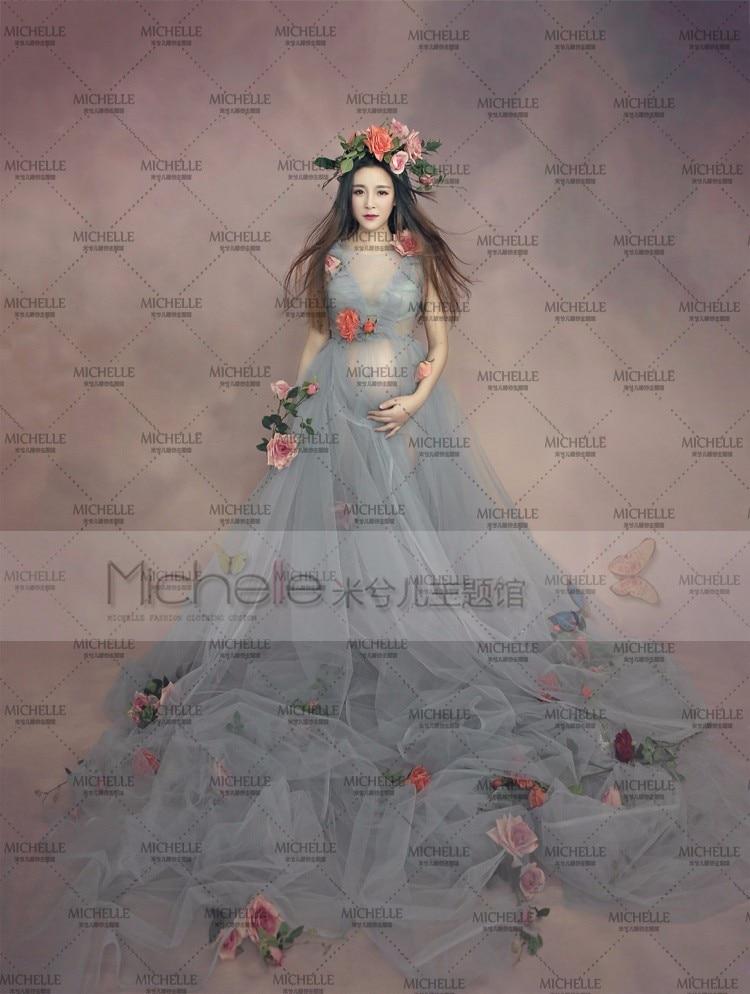 Toppkvalitet Gravida Maternity Kvinnor Modefotografi Props Romantiska långa Fairy Trailing Dress Fotografera gratis frakt