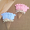 Gender Revea Clothing Cupcake Toppers Blue or Pink Baby Shower/Boy & Girl 1st Birthday Party Decorations Cake Accessory Supplies