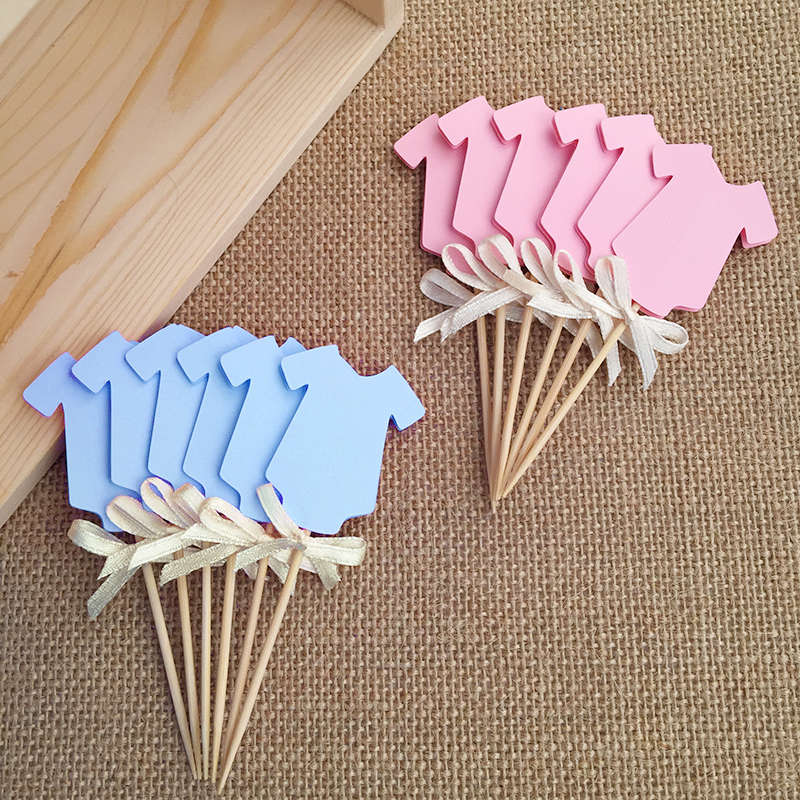 Gender revea clothing cupcake toppers blue or pink baby for Baby shower decoration kits girl