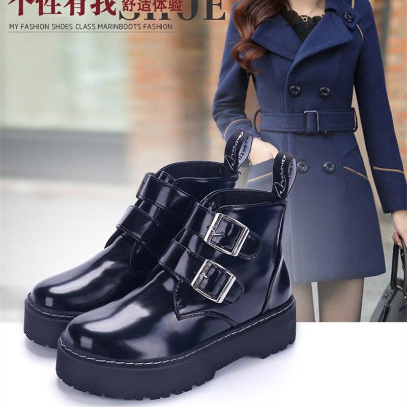 2017 Autumn Winter Motorcycle Boots Medium Heel Square Heel Martin Boots Women Leather Round Toe Platform