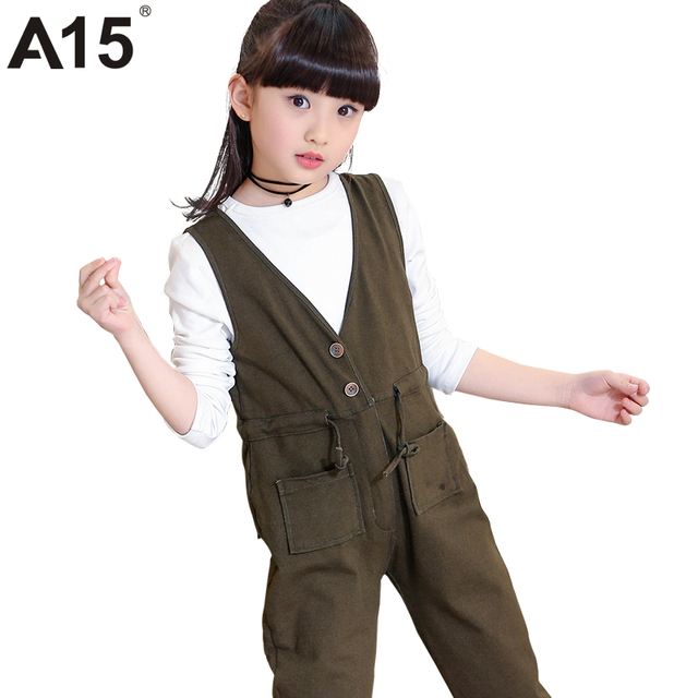 A15 Kids Fashion Clothes Children 2017 Spring Toddler Girl Clothing Set Two Piece Jumpsuit Suspenders Pants Outfit 10 12 14 Year